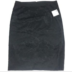 NWT Halogen Black Embroidered Pencil Skirt